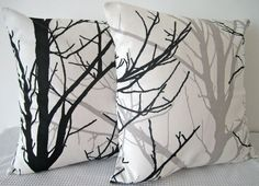 Two Black and White Forest Cushion Covers by miaandstitch on Etsy, $49.95
