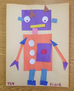 Geometric Robots Elements of Design:  Color, Shape Art Lesson completed by students with Autism and special ne...