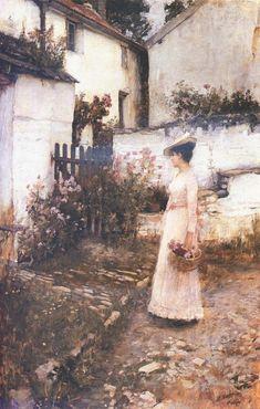 John William Waterhouse (1849-1917)  Gathering Summer Flowers in a Devonshire Garden  Oil on canvas  1893-1910