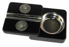 Executive Black Travel Cigar Ashtray US Marines Silver Emblem IN STOCK