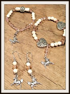 FOR THE LOVE of HORSES Pink Crystal White Turquoise Silver Horse Charm Bracelets / Earrings  You Choose  #equine #horse #earrings #jewelry #bracelet #charm #turquoise #cowgirl #western #silver #heart #stretchbracelet #fashion #boutique