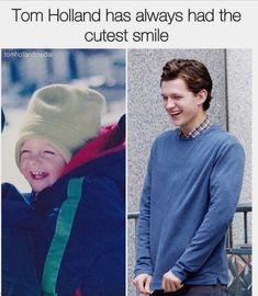 Tom Holland has always had the cutest smile Funny Marvel Memes, Marvel Jokes, Dc Memes, Baby Toms, Tom Holland Peter Parker, Tommy Boy, Men's Toms, Marvel Actors, Film Serie