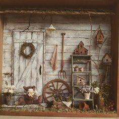 Miniature Garden Shed Mais Miniature Plants, Miniature Rooms, Miniature Houses, Miniature Furniture, Shadow Box Kunst, Shadow Box Art, Minis, Vitrine Miniature, Miniture Things
