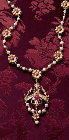 Dolce and Gabbana Opal, Rubies, and Baroque Fresh Water Pearls l Ria Shades Of Burgundy, Burgundy And Gold, Burgundy Wine, Red Gold, Red Wine, Dolce & Gabbana, Gold Jewelry, Jewelry Box, Jewelry Accessories