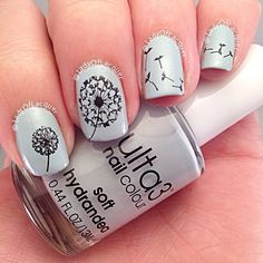 Dandelion Nail Art Nail Stamping by @LadyOfLacquer using Moyou ProPlate 6. see www.instagram.com/ladyoflacquer for more nail art