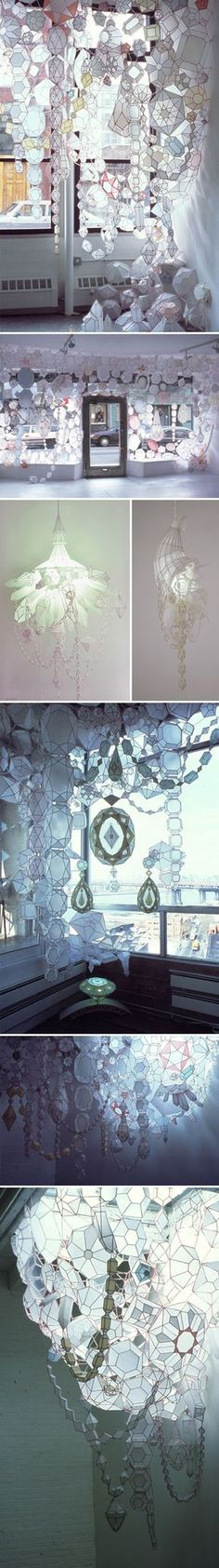 I so badly want American artist Kirsten Hassenfeld to hang one of these gorgeous installations from my ceiling! Delicate, light-infused, paper-based mixed media jewels… yes please.