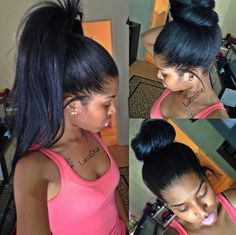 Lakia Star achieved this high ponytail and high bun with Owigs hair extensions.