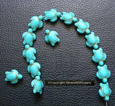 Baby Tortoise, Semi Precious Beads, Turquoise Necklace, Turtle, Beaded Bracelets, Blue, Ebay, Jewelry, Fashion