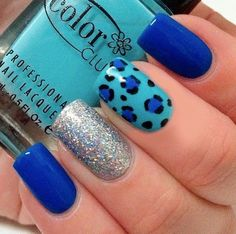 blue Nails discovered by Mary Molina on We Heart It Gorgeous Nails, Pretty Nails, Leopard Print Nails, Leopard Prints, Cute Nail Colors, Toe Nail Designs, Stylish Nails, Creative Nails, Blue Nails