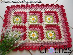 Carine Strieder e seus Crochês: Tapete granny square em degradê