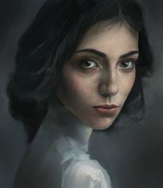 """Color Study"" - Bin Li {contemporary figurative realism artist beautiful female head woman face portrait digital painting #loveart} hexaylon.deviantart.com"