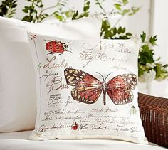 Embroidered Garden Critters Indoor/Outdoor Pillow #potterybarn