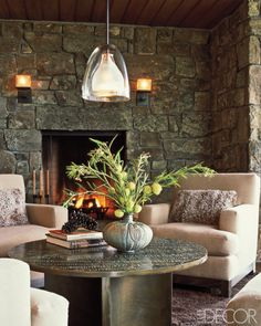Gorgeous Mountain Home Great Room Conversational Grouping Featured in Elle Decor