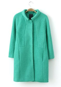 Green Plain Buttons V-neck Long Sleeve Wool Coat