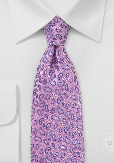 Paisley Silk Tie in Lavender, Pink, and Purple