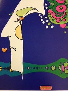 Rare Vintage Peter Max Psychedelic Art Poster Midnight Dream Cosmic Kiss