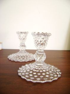 vintage hobnail glass taper candle holders
