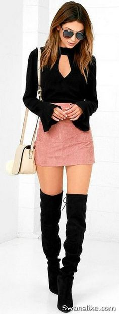How to wear Thigh High Boots Outfit - #Boots #Fashion #HighBoots #Fall #WinterOutfits (10)