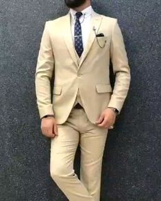 Regular price: Collection: Spring – Summer 2019 Product: Slim-Fit Suit Color Code: Beige Size: Suit Material: 70 wool, 30 polyester Fitting: Slim-fit Package Include: Jacket, Vest, Pants Only Gifts: Shirt, Chain and Neck Tie Mens Casual Suits, Mens Fashion Suits, Mens Suits, Gentlemans Club, Father Of The Bride Outfit, Mode Costume, Designer Suits For Men, Tuxedo For Men, Fitted Suit