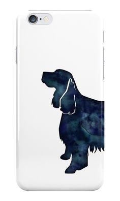 Springer Spaniel Dog Black Watercolor Silhouette by TriPodDogDesign