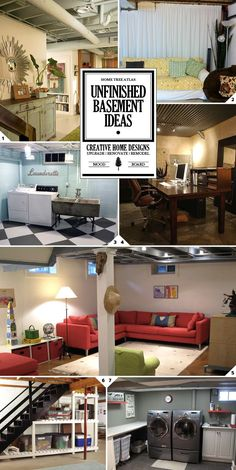 Unfinished Basement Ideas For Making the Space Look and Feel Good || Tips for what to use the space for (laundry room, living space), decorating on a budget, styling the ceiling, and what to do with the walls.