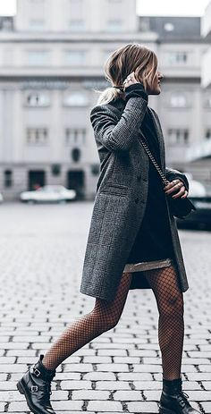 Jacqueline Mikuta + elegant yet casual fall style + tweed coat + fishnet tights . - Jacqueline Mikuta + elegant yet casual fall style + tweed coat + fishnet tights + pair of buckled l - Cute Winter Boots, Winter Tights, Autumn Fashion Casual, Casual Fall, Winter Fashion, Fashion Mode, Look Fashion, Fashion Trends, Fashion Tips