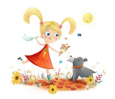 Summer. Girl and Puppy Illustration by Lucy Fleming