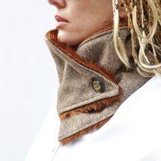 Scarf, Womens Neckwarmer - Brown/Cream Wool Tweed and Brown Faux Fur