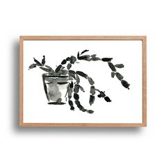 Succulent plant ink drawing original ink painting by TheJoyofColor