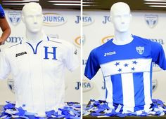 These are the Honduras 2012 to 2013 soccer jerseys.  One I for home games and the other is for away ones.  The one on the right has part of the Honduras flag on it.
