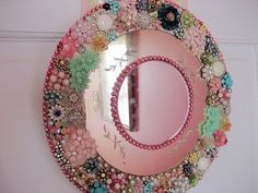 Vintage mirror from mismatched jewelry and baubles
