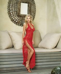 0d6dfd610 2 piece Spanish rose lace long dress with satin ribbon lace up side and  G-string. One size. AnjelWear Lingerie