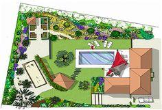 plan de l 39 am nagement paysager d 39 une terrasse de style contemporain dans l 39 enceinte d 39 un jardin. Black Bedroom Furniture Sets. Home Design Ideas