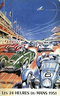 Vintage 1951 Le Mans 24 Hour Race Motor Racing Poster
