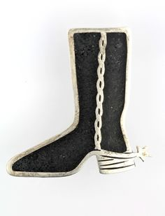 Black Cowboy Boot with Spur Pin Sterling Silver from Taxco, Mexico