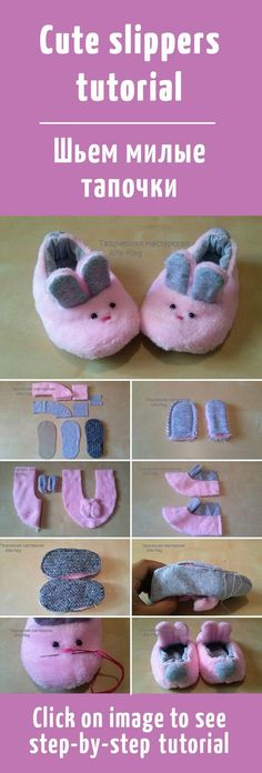 "Шьем милые тапочки-зайчики / cute slippers tutorial ""Discover thousands of images about Mimin Dolls: Tutorial sapatinho para doll bran Doll Shoe Patterns, Baby Shoes Pattern, Baby Patterns, Cute Slippers, Baby Slippers, Bedroom Slippers, Doll Crafts, Baby Crafts, Sewing For Kids"