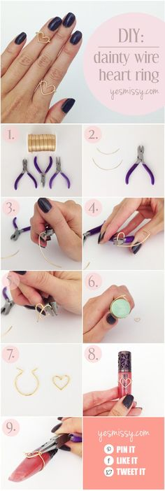 DIY Wire Heart Ring Tutorial. So cute and easy to make!
