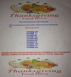 Thanksgiving food drive Food Drive, The 5th Of November, Winter Holidays, Thanksgiving Recipes, Tableware, Ideas, Dinnerware, Eating Habits, Tablewares