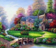 Large Diamond Painting Kit for Adults Full Square Drill Embroidery Cross Stitch Crystal Rhinestone Mosaic Making Home Decor Christmas Gift Spring Landscape Cottage Art Craft (Summer Scenery) Thomas Kinkade Art, Kinkade Paintings, Cottage Art, Lake Cottage, Natural Scenery, 5d Diamond Painting, Cross Paintings, Diy Painting, Painting Prints
