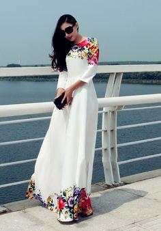 Летний стиль женщины макси платье квартал рукава халат длинное платье цветочные печатный женщины белое платье Большой размер платья макси купить на AliExpress