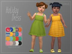 Cute summer dress for the little ones, coming in lots of solid swatches and patterns. :) Found in TSR Category 'Sims 4 Toddler Female' Sims 4 Toddler Clothes, Sims 4 Cc Kids Clothing, Sims 4 Mods Clothes, Toddler Girl Outfits, Kids Outfits, Toddler Cc Sims 4, Toddler Fashion, Toddler Girls, Sims 4 Cc Packs