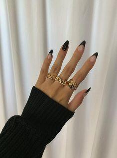 Black Nail Tips, Black French Nails, Black Almond Nails, French Tip Acrylic Nails, Acrylic Nails Coffin Short, Simple Acrylic Nails, Almond Acrylic Nails, Best Acrylic Nails, Black Nails Short