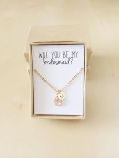 Personalized Bridesmaids Gifts- Will You Be My Bridesmaid Proposal- Peach Initial Necklace- Maid of Honor Flower Girl Proposal by VerseShop on Etsy