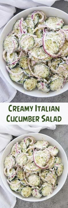 Creamy Italian Cucumber Salad The post Creamy Italian Cucumber Salad appeared first on Woman Casual - Food and drink Healthy Diet Recipes, Vegetarian Recipes, Healthy Eating, Cooking Recipes, Vegetarian Salad, Fast Recipes, Cucumber Recipes, Salad Recipes, Juice Recipes