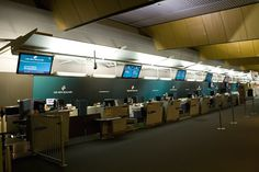 Air New Zealand Check-In counters Wellington Airport. Image via google
