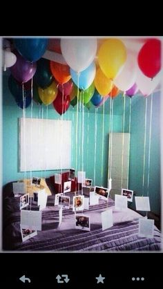 Cute and fun thing you can do for your boyfriend or girlfriend for a birthday or anniversary. Get helium balloons and pictures. Poke a hole on the top of the picture and then slide the ballon string in the hole.