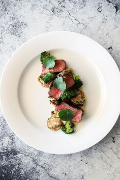 Beef Fillet, Exotic Mushrooms, White Onion Puree & Charred Broccoli - Temptation For Food #beef