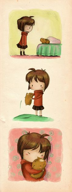The girl and her guinea pig (by Milou van Montfort, via Behance)