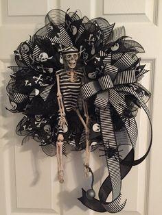 Halloween Wreath Skeleton Wreath Skeleton Prisoner by RoesWreaths
