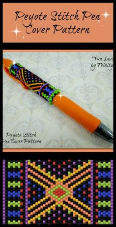 BP-PEN-006 - 2015-38 - Fun Loving - Even Count Peyote Stitch Pen Cover Pattern - One of a Kind - Fashion Art - DIY Instructions